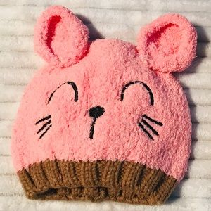Other - 5/$20 Pink Bear Baby Beanie Hat girl 9-18 months